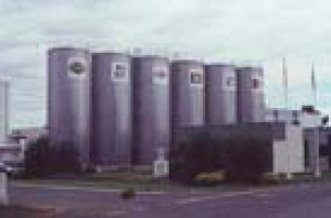 Huge stainless steel storage tanks associated with the Bonlac milk products company