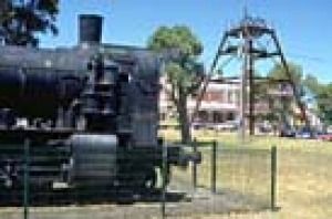 The train and the poppet head in the park near the Wonthaggi Historical Society