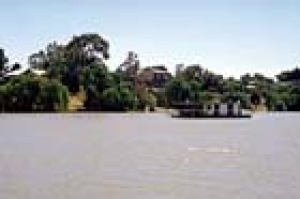 A houseboat on the Murray River near Meningie