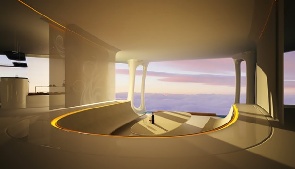 Aircruise is the concept design for a hotel in the sky, with low passenger numbers and huge internal spaces offering ...
