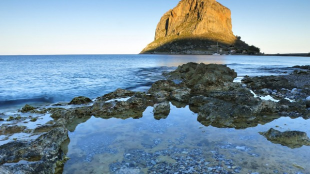 Medieval magic ... Monemvasia rises out of the sea.
