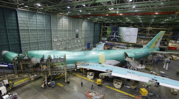 Boeing highlights that this latest fuel-efficient version of its popular jumbo jet is the only large plane that fits ...
