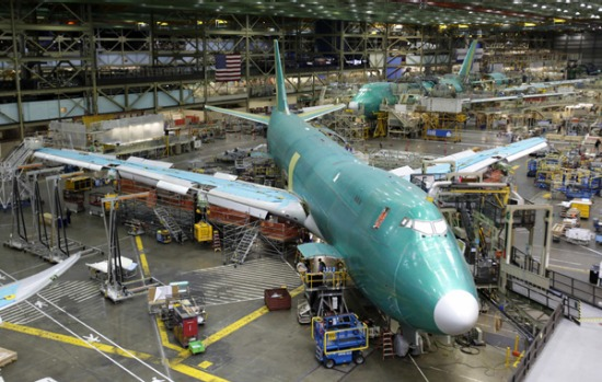 Boeing 747-8 Freighter jets under construction.