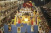 Revellers aboard one of the Viradouro samba school's floats participate in the first night of the Carnival parade in Rio ...