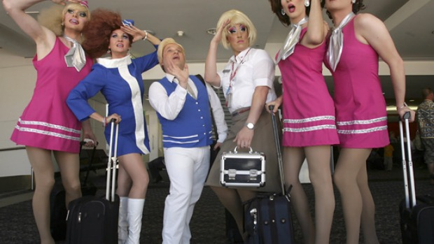 Some of the drag queens on the gay flight to Sydney for the Mardi Gras.