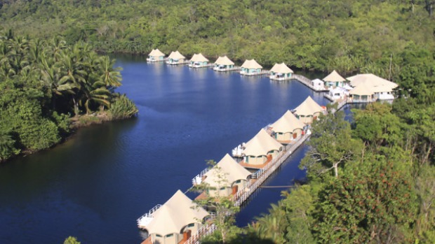 Water level ... the floating 4 Rivers Eco Lodge in Cambodia.