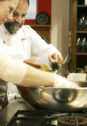 Hands-in ... Greg Malouf teaches Middle-Eastern cuisine at Diana Marsland's Woodend school.