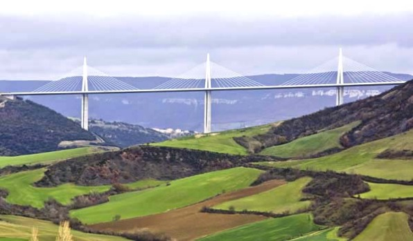 Millau Viaduct, Aveyron, France. A far cry from the magical medieval brick bridges of Europe, the magnificent ...