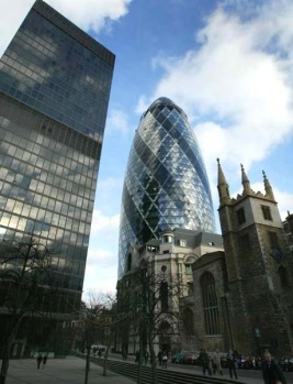 30 St Mary Axe, London, England. Sir Norman Foster's glossy 180-metre-high phallic-shaped skyscraper - nicknamed the ...