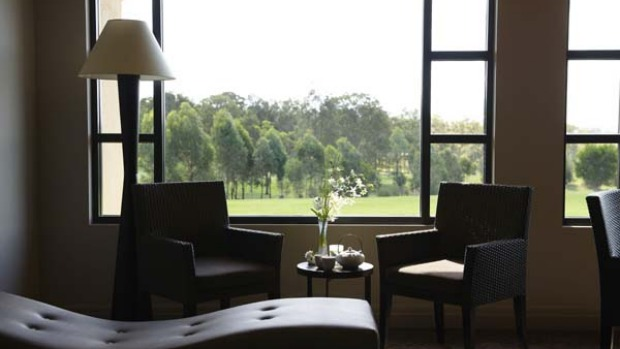 Tee time ... a lounge in Chateau Elan's spa overlooks the Vintage course.