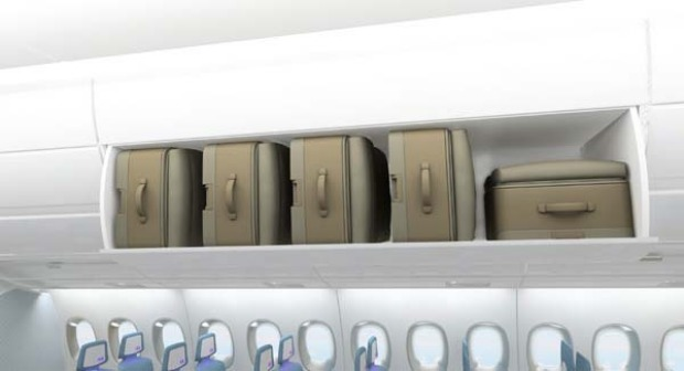 Airbus says the A350 has unprecedented bin capacity for roll-on luggage.