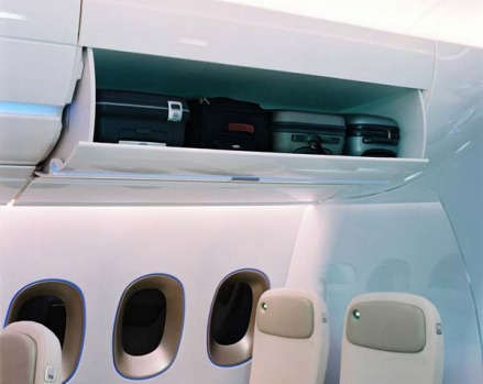 The large overhead bins can take four roll-on bags.