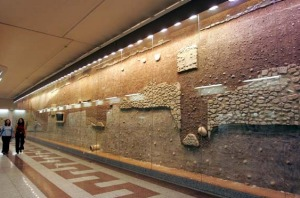 Remains of the day ... fortifications of ancient Athens are showcased in the central Syntagma station.