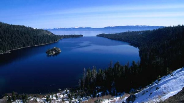 Water with altitude ... Lake Tahoe lies nearly 2000 metres above sea level.