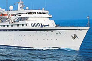 """Comfort not speed ... the MV Athena has a capacity of 600 passengers, a """"minnow"""" among new mega-liners."""