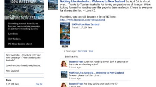 April Fool, Aussies ... Tourism New Zealand has agreed to hand over this Facebook page.