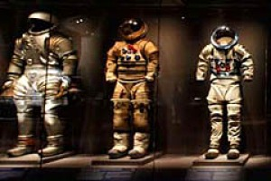 Cosmic fashion ... space suits on display at the Kennedy Space Centre.