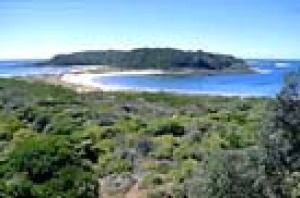 Broulee Island Nature Reserve, once the major port for Moruya