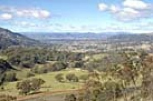 Looking across Murrurundi and the Liverpool Plains from the crossing north of the town