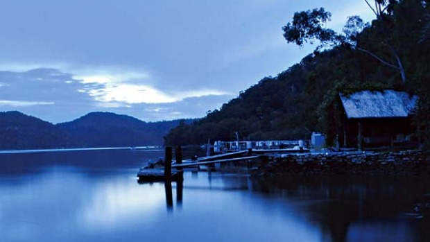 Into the blue ... night falls on the Hawkesbury River by Oxley Boatshe.