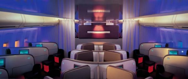 The herringbone (zig-zag) configuration means Virgin Atlantic upper class seats face forward and every seat has aisle access.