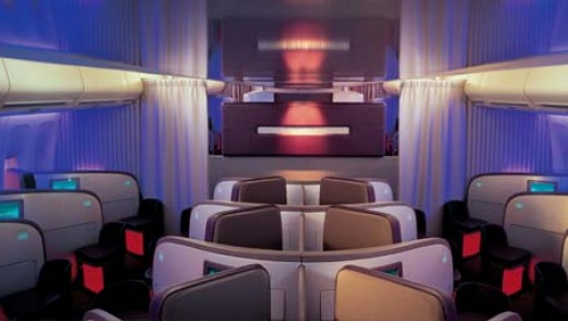 The herringbone (zig-zag) configuration means Virgin Atlantic upper-class seats face forward and every seat has aisle access.