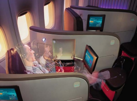 Virgin Atlantic upper class entertainment includes a 26-centimetre screen with 300 hours of movies and television.