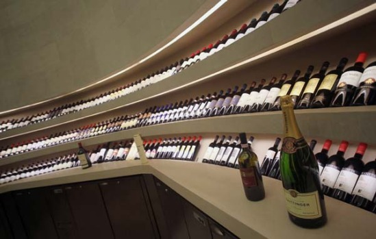 The well-stocked bar of one of the restaurants at the Armani hotel.