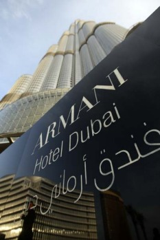 A view of the world's first Armani Hotel in the Burj Khalifa.