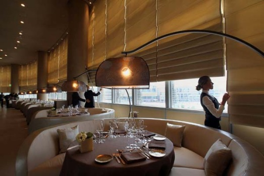 Employees prepare a restaurant for opening at Dubai's Armani hotel.