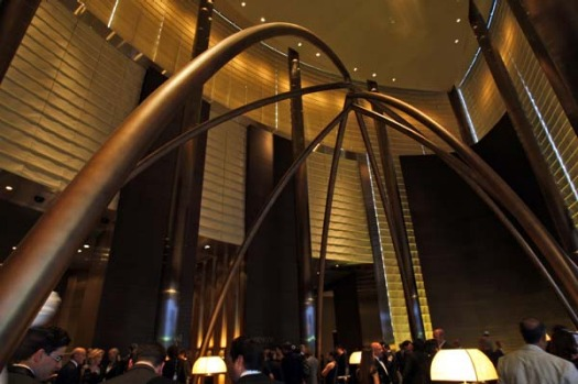 Guests arrive at the lobby of the world's first Armani Hotel located in Burj Khalifa, the world's tallest building.