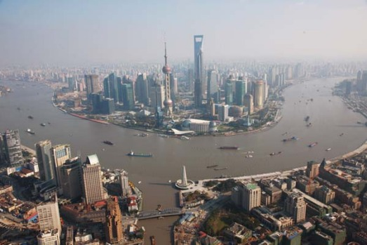Shanghai's new financial district along the Huang Pu river.