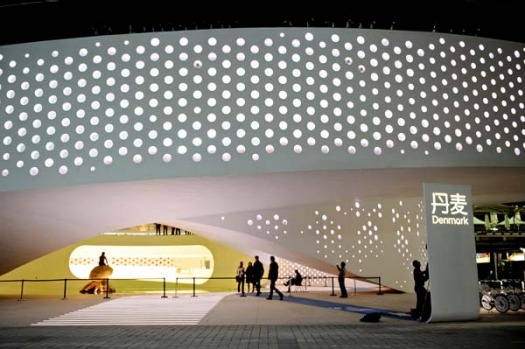 Wokers put the final touches at the Danish pavilion at the site of the World Expo 2010 in Shanghai.