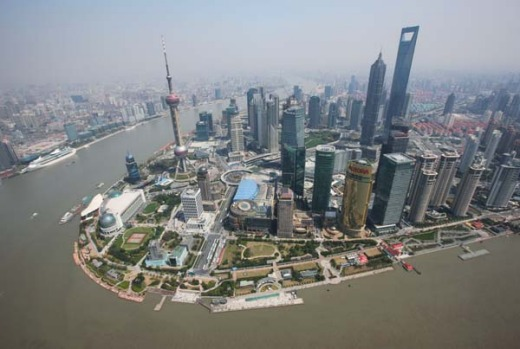 Shanghai's new financial district skyline along the Huang Pu river.