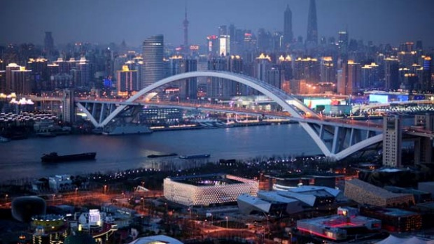 A night aerial view of Shanghai's financial district.