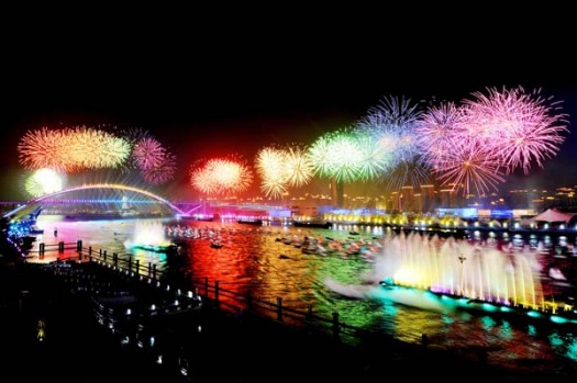 The opening ceremony ended with skies over the city set ablaze in a massive fireworks show.