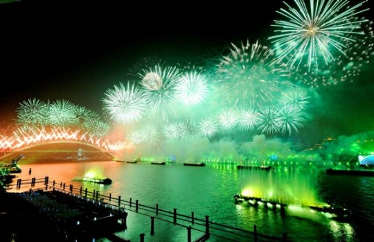Fireworks illuminate the sky during the opening ceremony.