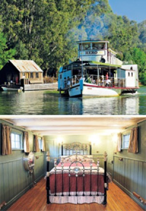 Rivers run ... (from top) Hero, built in 1871 and relaunched in 2000 in Echuca, is now a bed and breakfast; the cabins ...