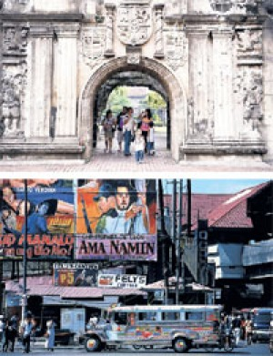 Top: Intramuros, the 16th-century walled city. Bottom: a cheap ride by jeepney