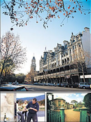 (Clockwise, from top) Heritage architecture in Bendigo; Buda Historic Home and Garden; a welcome at Bress.