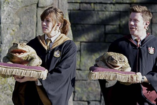 Members of the Hogwarts Choir sing for guests at The Wizarding World of Harry Potter at Universal Orlando theme park in ...