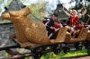 Harry Potter film star Daniel Radcliffe rides the Flight of the Hippogriff attraction at Universal Orlando Resort in Florida.