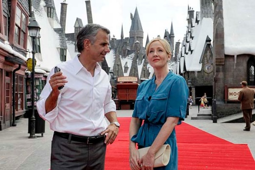 "J.K. Rowling, author of the widely successful ""Harry Potter"" book series, visits The Wizarding World of Harry Potter ..."