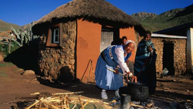 Hut's all, folks ... the village and surrounding hills of Malealea.