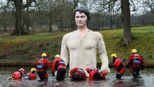 Firth things first: Divers rescue the polystyrene giant from Britain's Lyme Park.