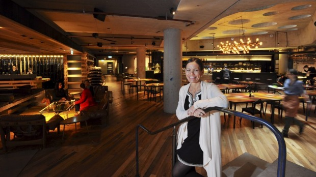Hotel Hotel, General Manager, Tracy Atherton in the hotel's reception and bar. The establishment in the Nishi building, ...