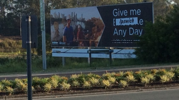 In protest at a Brisbane Marketing billboard being placed on their turf, Ipswich residents took matters into their own hands.