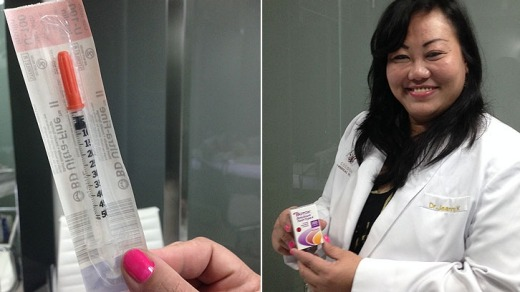 The syringe, still in its packaging, and Dr Jeanny Kusumawati who carried out the procedure.