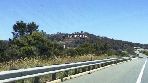 Statement: An artist€'s impression of a proposed giant CANBERRA sign at Eagle Hawk Hill while travelling on the Federal ...