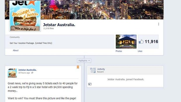 The fake Jetstar Facebook page promises a prize that's too good to be true.